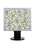 Computer monitor with money Royalty Free Stock Image