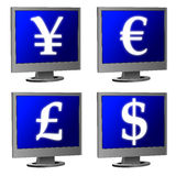 Computer monitor  money sign Royalty Free Stock Photography