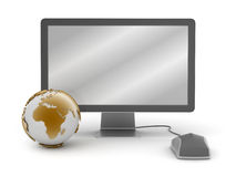Computer monitor,mouse and earth globe. On white background Stock Image
