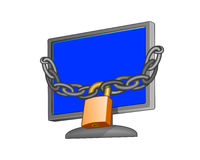 Computer monitor with padlock Stock Photos