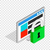 Computer monitor and padlock isometric icon. 3d on a transparent background vector illustration Royalty Free Stock Photo