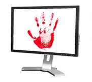Computer monitor with palm print Stock Photography