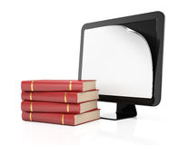 Computer monitor with paper on screen and books Royalty Free Stock Photos