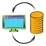 Computer monitor with pile of gold coins icon. In icon in cartoon style isolated vector illustration Stock Photography