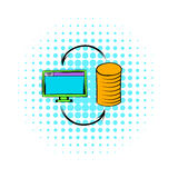 Computer monitor with pile of gold coins icon. In comics style on a white background Royalty Free Stock Photography