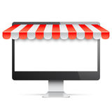 Computer Monitor with Red Awning Stock Images