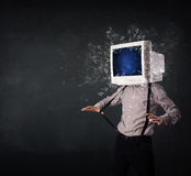 Computer monitor screen exploding on a young persons head Stock Images