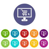 Computer monitor with shopping cart set icons Stock Photos