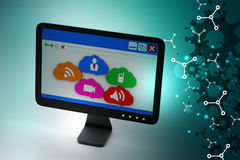 Computer monitor showing social media icons Royalty Free Stock Photography