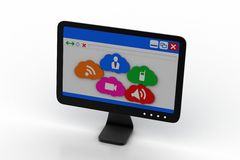 Computer monitor showing social media icons Stock Photo