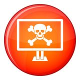 Computer monitor with a skull and bones icon Stock Photos