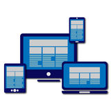 Computer monitor, smartphone, laptop and tablet Stock Images