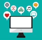 Computer monitor social media bubbles icons Stock Photos