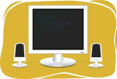 Computer monitor with speakers Stock Images