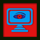 Computer monitor with spy eye. A computer monitor with a digital eye staring back at the viewer Royalty Free Stock Photography