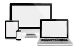 Computer monitor, tablet, laptop and phone. Computer monitor,laptop, tablet and phone, frontal view,  on white Stock Photo