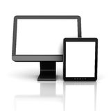 Computer Monitor With Tablet PC Royalty Free Stock Photography