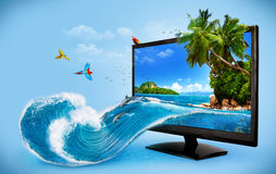 Computer monitor. Tropical background from computer monitor. Travelling, vacation  Water splash Stock Photography