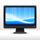 Computer monitor with wave pattern internet Royalty Free Stock Images