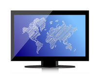 Computer monitor with world map on screen Stock Image