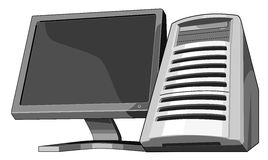 Computer and monitor wormview. Illustration of a computer and monitor stock illustration