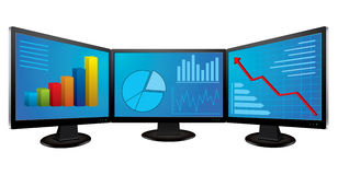 Computer monitors with financial graphs. Vector illustration Stock Photos