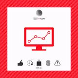 Computer monitors with graph. Element for your design . Signs and symbols - graphic elements for your design Royalty Free Stock Image