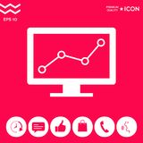 Computer monitors with graph. Element for your design . Signs and symbols - graphic elements for your design Royalty Free Stock Photo