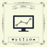 Computer monitors with graph. Element for your design . Signs and symbols - graphic elements for your design royalty free illustration