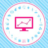 Computer monitors with graph. Element for your design . Signs and symbols - graphic elements for your design vector illustration
