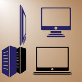 Computer Monitors. Illustrations of computer monitors is isolated on color background Stock Images