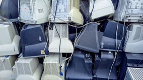 Computer monitors ready to be recycled. Stock Photos