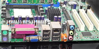 Computer motherboard. Input and output connections on computer motherboard Stock Images