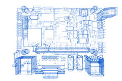 Computer motherboard (3D xray blue on Royalty Free Stock Photos
