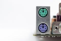 Computer motherboard board connectors Stock Photo