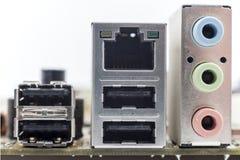 Computer motherboard board connectors Royalty Free Stock Photos