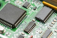 Computer motherboard. Chip close up on a integrated circuit. Electronic circuit board close up. Tech science background. stock photo