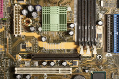 Computer motherboard with chips, memory, pci Royalty Free Stock Photo