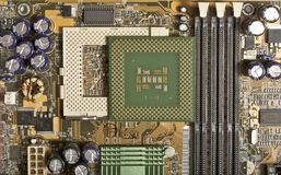 Computer motherboard with chips, memory, pci Royalty Free Stock Photography