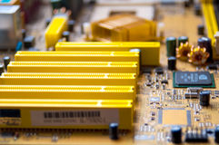 Computer motherboard. Computer circuit Board close up with blurred focus Stock Photography