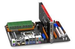 Computer motherboard closeup Royalty Free Stock Photo