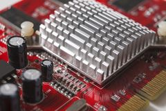 Computer motherboard components close up Royalty Free Stock Photos