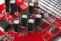 Computer motherboard components close up. Computer motherboard close up. Components of microprocessor. Technology, science and electronics concept Royalty Free Stock Photo