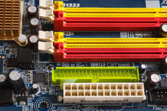 Computer motherboard components close up Royalty Free Stock Image