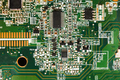 Computer motherboard components close up, top view Royalty Free Stock Photos