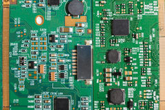 Computer motherboard components close up, top view Stock Image