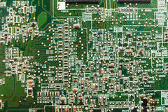 Computer motherboard components close up, top view Stock Photos