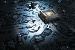 Computer motherboard with CPU. Circuit board system chip with co stock illustration