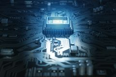 Computer motherboard with CPU. Circuit board system chip with co Royalty Free Stock Photography