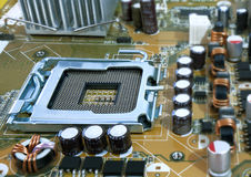 Computer motherboard with cpu stock image